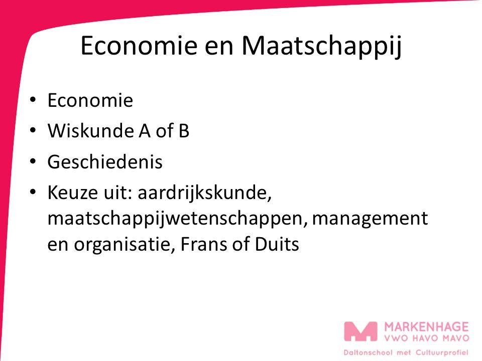 Economie en Maatschappij Economie Wiskunde A of B Geschiedenis Keuze uit: aardrijkskunde, maatschappijwetenschappen, management en organisatie, Frans of Duits