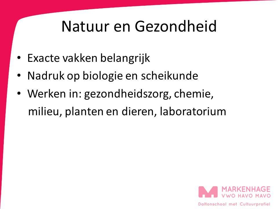 Natuur en Gezondheid Exacte vakken belangrijk Nadruk op biologie en scheikunde Werken in: gezondheidszorg, chemie, milieu, planten en dieren, laborato