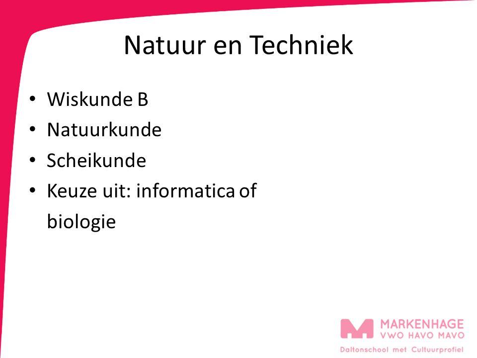 Natuur en Techniek Wiskunde B Natuurkunde Scheikunde Keuze uit: informatica of biologie