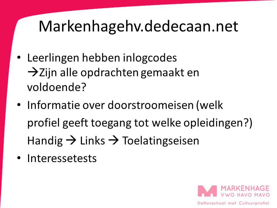 Markenhagehv.dedecaan.net Leerlingen hebben inlogcodes  Zijn alle opdrachten gemaakt en voldoende.