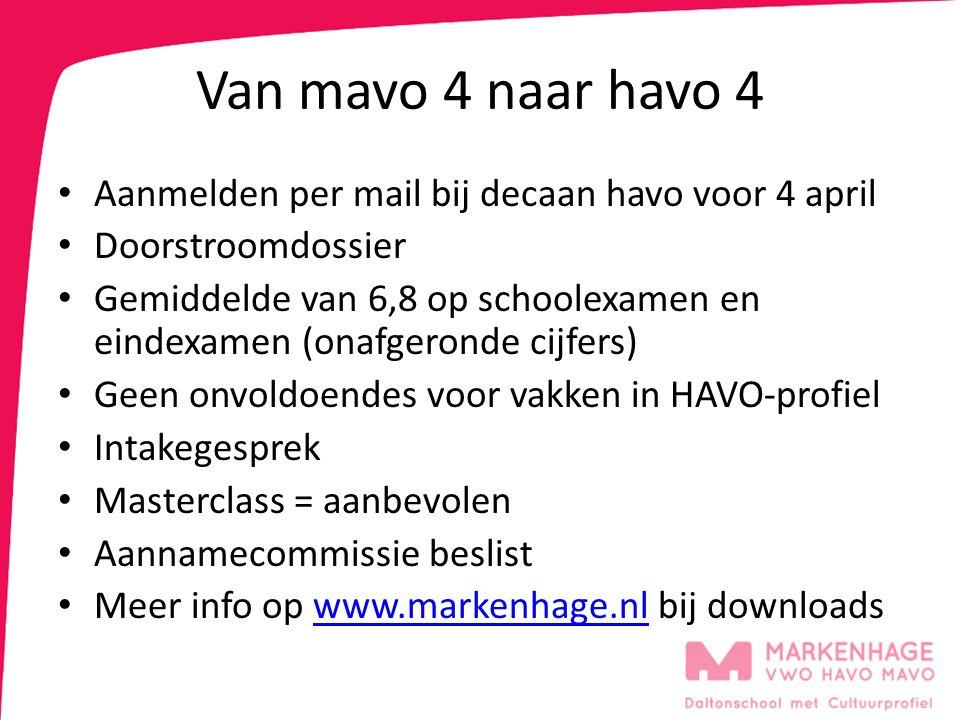 Van mavo 4 naar havo 4 Aanmelden per mail bij decaan havo voor 4 april Doorstroomdossier Gemiddelde van 6,8 op schoolexamen en eindexamen (onafgeronde cijfers) Geen onvoldoendes voor vakken in HAVO-profiel Intakegesprek Masterclass = aanbevolen Aannamecommissie beslist Meer info op www.markenhage.nl bij downloadswww.markenhage.nl