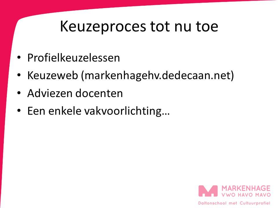 Keuzeproces tot nu toe Profielkeuzelessen Keuzeweb (markenhagehv.dedecaan.net) Adviezen docenten Een enkele vakvoorlichting…