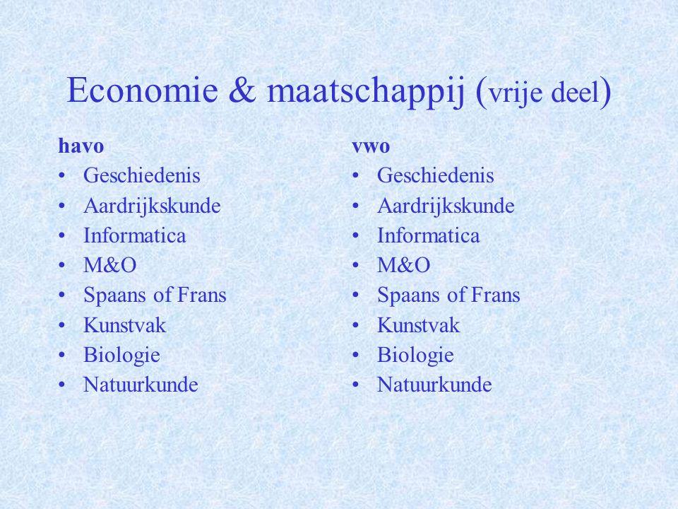 Economie & maatschappij ( profieldeel ) havo Verplicht: Wiskunde A of B Economie Keuze van één uit: Geschiedenis Aardrijkskunde vwo Verplicht: Wiskunde A of B Economie Aardrijkskunde/Geschiedenis Keuze van één uit: Aardrijkskunde Geschiedenis M&O Informatica Spaans of Frans