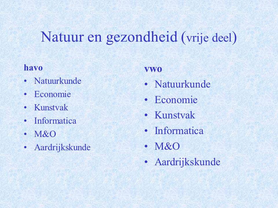 Natuur en gezondheid ( profieldeel ) havo Verplicht: Wiskunde A of B Biologie Scheikunde vwo Verplicht: Wiskunde A of B Biologie Scheikunde Keuze van één uit: Natuurkunde Informatica Aardrijkskunde