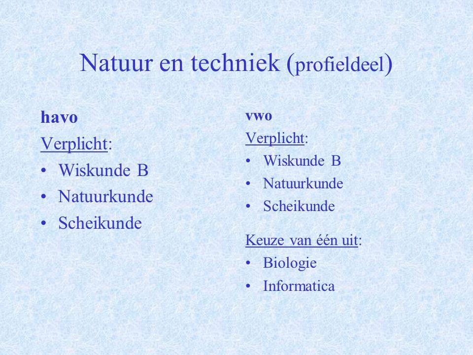 Natuur en gezondheid ( vrije deel ) havo Natuurkunde Economie Kunstvak Informatica M&O Aardrijkskunde vwo Natuurkunde Economie Kunstvak Informatica M&O Aardrijkskunde