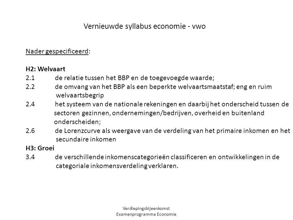 Verdiepingsbijeenkomst Examenprogramma Economie Nader gespecificeerd: H2: Welvaart 2.1 de relatie tussen het BBP en de toegevoegde waarde; 2.2 de omvang van het BBP als een beperkte welvaartsmaatstaf; eng en ruim welvaartsbegrip 2.4 het systeem van de nationale rekeningen en daarbij het onderscheid tussen de sectoren gezinnen, ondernemingen/bedrijven, overheid en buitenland onderscheiden; 2.6 de Lorenzcurve als weergave van de verdeling van het primaire inkomen en het secundaire inkomen H3: Groei 3.4 de verschillende inkomenscategorieën classificeren en ontwikkelingen in de categoriale inkomensverdeling verklaren.