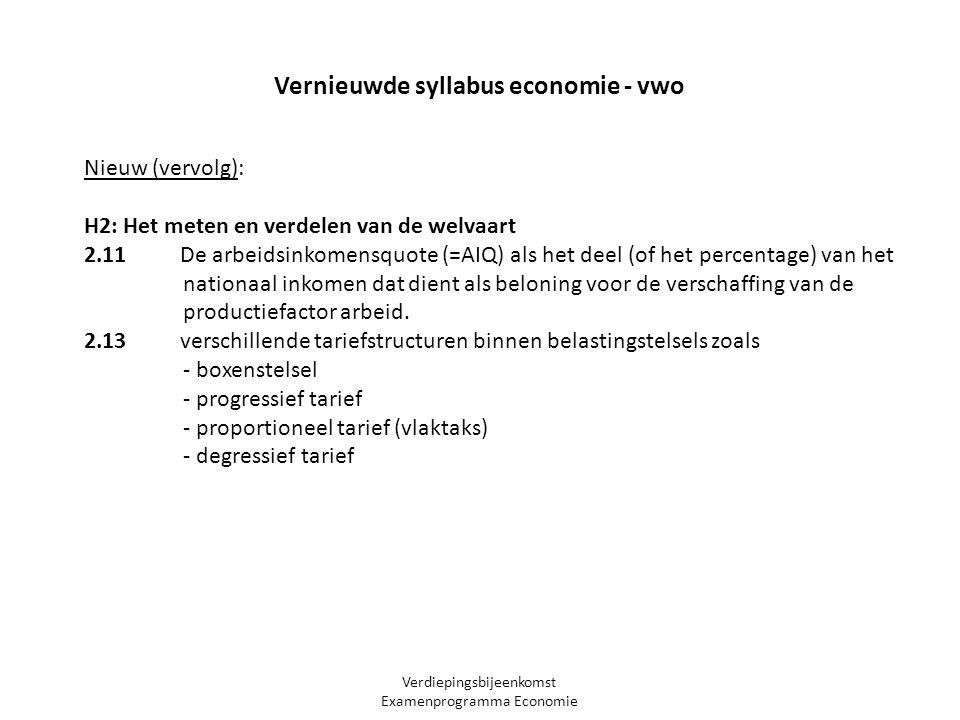 Verdiepingsbijeenkomst Examenprogramma Economie Nieuw (vervolg): H2: Het meten en verdelen van de welvaart 2.11 De arbeidsinkomensquote (=AIQ) als het