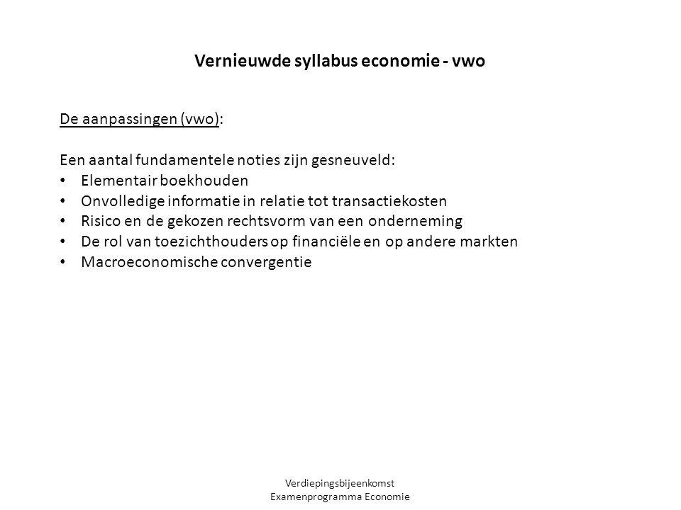 Verdiepingsbijeenkomst Examenprogramma Economie Vernieuwde syllabus economie - vwo De aanpassingen (vwo): Een aantal fundamentele noties zijn gesneuve