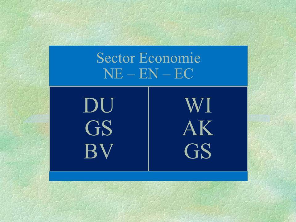 Sector Economie NE – EN – EC DU GS BV WI AK GS
