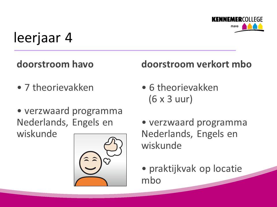 leerjaar 4 doorstroom havo 7 theorievakken verzwaard programma Nederlands, Engels en wiskunde doorstroom verkort mbo 6 theorievakken (6 x 3 uur) verzw