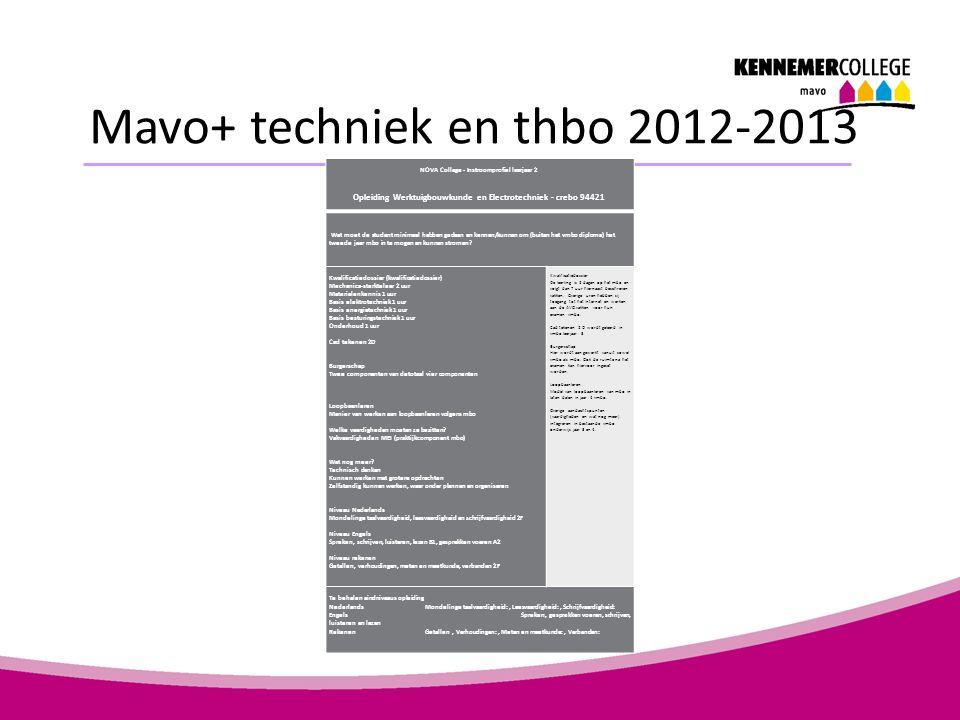 Mavo+ techniek en thbo 2012-2013 NOVA College - Instroomprofiel leerjaar 2 Opleiding Werktuigbouwkunde en Electrotechniek - crebo 94421 Wat moet de st