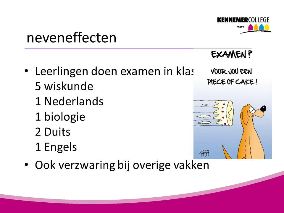 neveneffecten Leerlingen doen examen in klas 3 5 wiskunde 1 Nederlands 1 biologie 2 Duits 1 Engels Ook verzwaring bij overige vakken