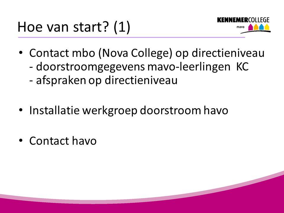 Hoe van start? (1) Contact mbo (Nova College) op directieniveau - doorstroomgegevens mavo-leerlingen KC - afspraken op directieniveau Installatie werk