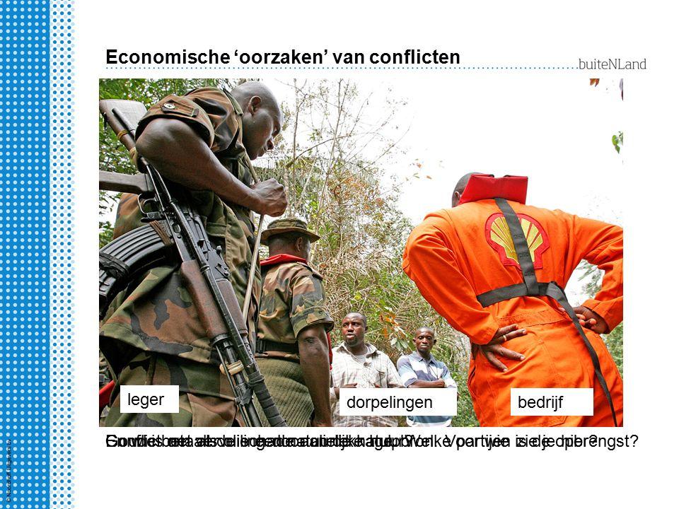 Economische 'oorzaken' van conflicten Macht of onmacht.