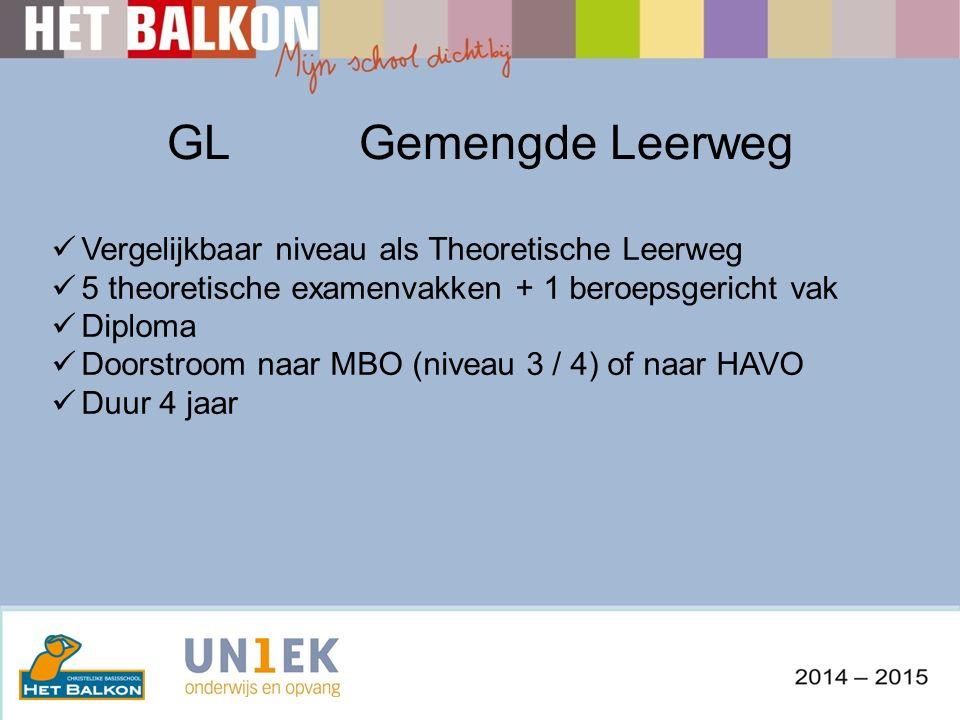 GLGemengde Leerweg Vergelijkbaar niveau als Theoretische Leerweg 5 theoretische examenvakken + 1 beroepsgericht vak Diploma Doorstroom naar MBO (niveau 3 / 4) of naar HAVO Duur 4 jaar