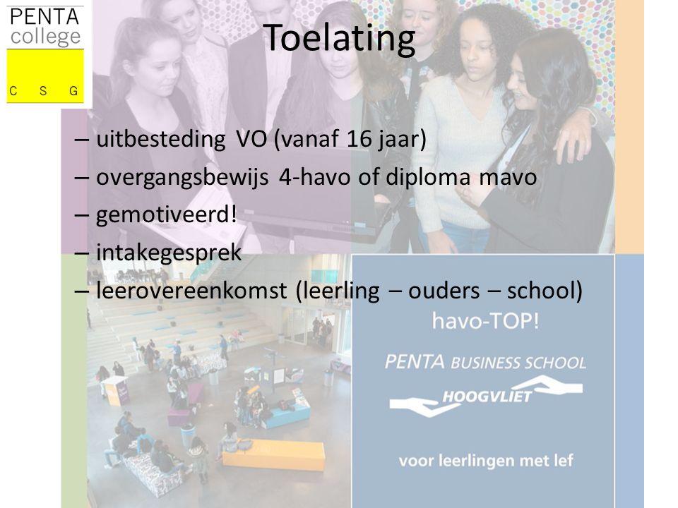 Toelating – uitbesteding VO (vanaf 16 jaar) – overgangsbewijs 4-havo of diploma mavo – gemotiveerd.