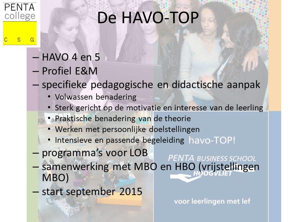 – HAVO 4 en 5 – Profiel E&M – specifieke pedagogische en didactische aanpak Volwassen benadering Sterk gericht op de motivatie en interesse van de leerling Praktische benadering van de theorie Werken met persoonlijke doelstellingen Intensieve en passende begeleiding – programma's voor LOB – samenwerking met MBO en HBO (vrijstellingen MBO) – start september 2015 De HAVO-TOP