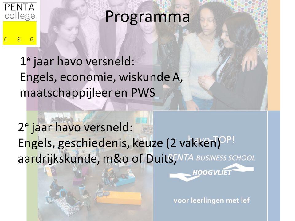 Programma 1 e jaar havo versneld: Engels, economie, wiskunde A, maatschappijleer en PWS 2 e jaar havo versneld: Engels, geschiedenis, keuze (2 vakken) aardrijkskunde, m&o of Duits,