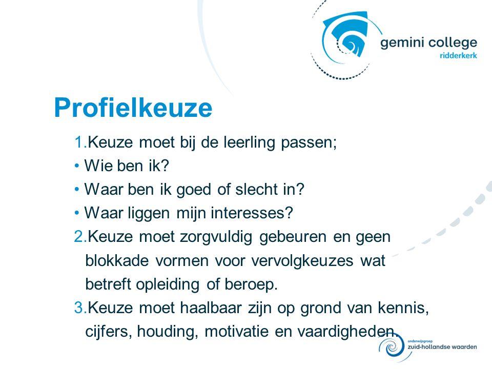 Keuzebegeleiding Qompas Profielkeuze onder begeleiding van de mentor & de decaan.