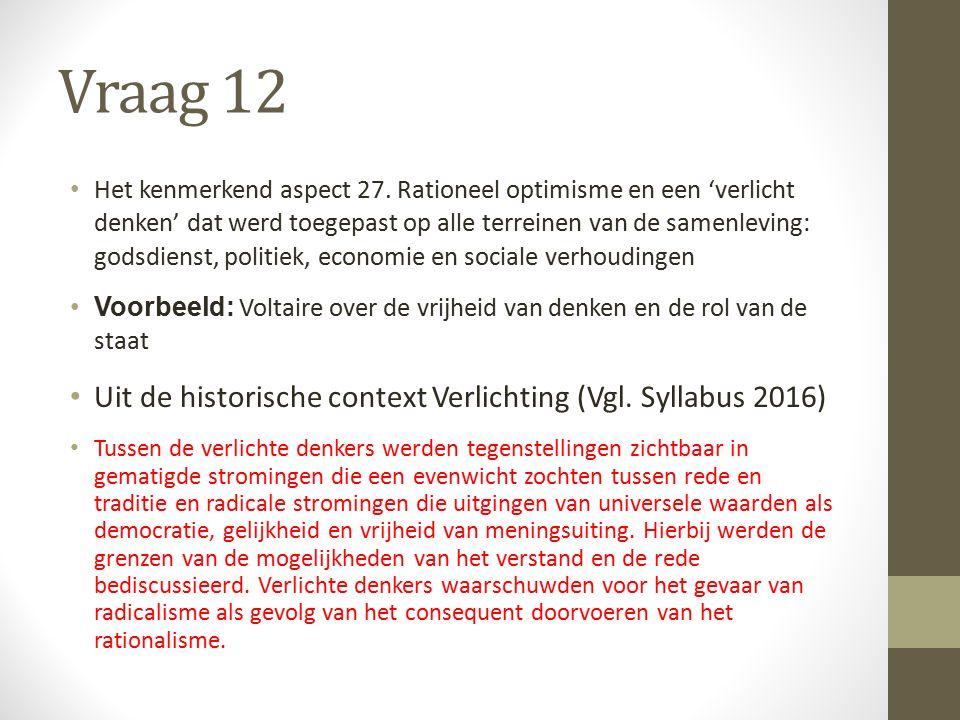 Vraag 12 Het kenmerkend aspect 27.