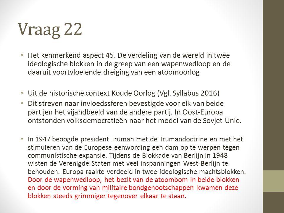 Vraag 22 Het kenmerkend aspect 45.