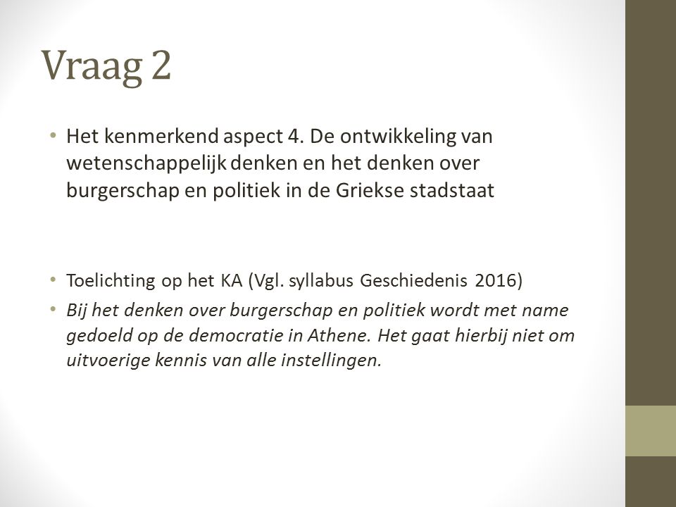 Vraag 23 Het kenmerkend aspect 37.
