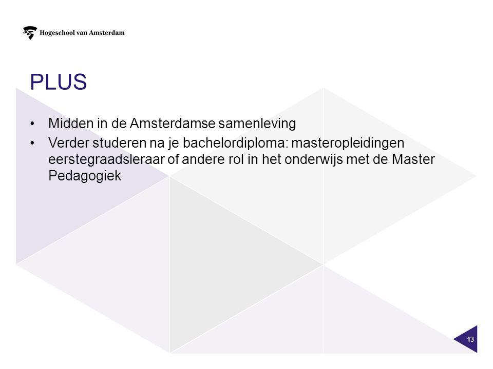 PLUS Midden in de Amsterdamse samenleving Verder studeren na je bachelordiploma: masteropleidingen eerstegraadsleraar of andere rol in het onderwijs met de Master Pedagogiek 13
