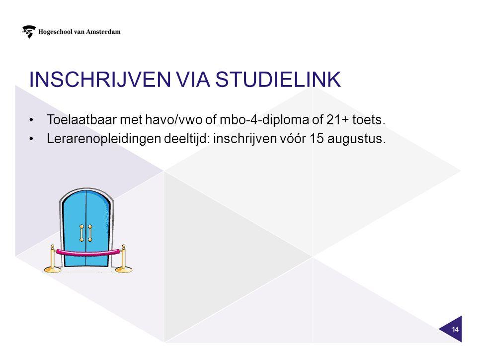 INSCHRIJVEN VIA STUDIELINK Toelaatbaar met havo/vwo of mbo-4-diploma of 21+ toets.