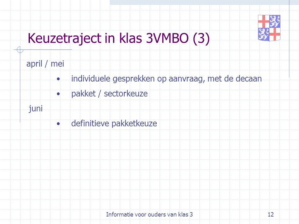 Informatie voor ouders van klas 312 Keuzetraject in klas 3VMBO (3) april / mei individuele gesprekken op aanvraag, met de decaan pakket / sectorkeuze juni definitieve pakketkeuze