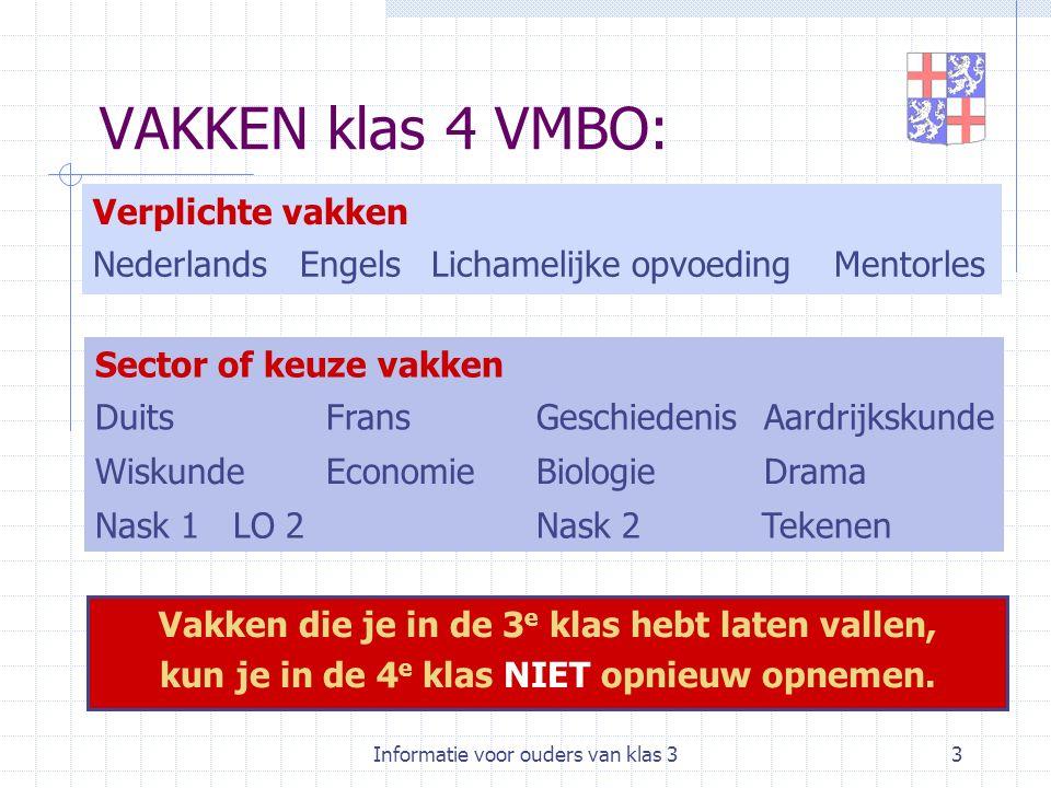 Informatie voor ouders van klas 33 VAKKEN klas 4 VMBO: MentorlesLichamelijke opvoedingEngelsNederlands Verplichte vakken AardrijkskundeGeschiedenisFra
