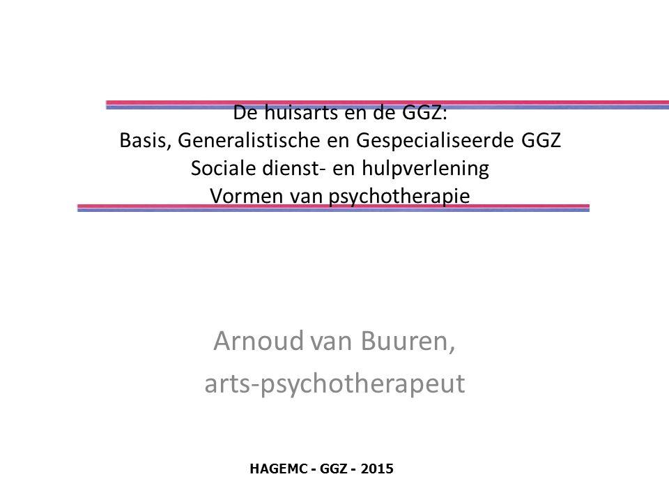 De huisarts en de GGZ: Basis, Generalistische en Gespecialiseerde GGZ Sociale dienst- en hulpverlening Vormen van psychotherapie Arnoud van Buuren, arts-psychotherapeut HAGEMC - GGZ - 2015