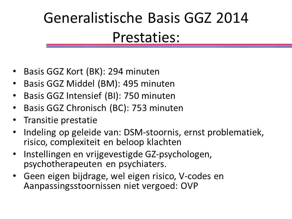 Generalistische Basis GGZ 2014 Prestaties: Basis GGZ Kort (BK): 294 minuten Basis GGZ Middel (BM): 495 minuten Basis GGZ Intensief (BI): 750 minuten Basis GGZ Chronisch (BC): 753 minuten Transitie prestatie Indeling op geleide van: DSM-stoornis, ernst problematiek, risico, complexiteit en beloop klachten Instellingen en vrijgevestigde GZ-psychologen, psychotherapeuten en psychiaters.