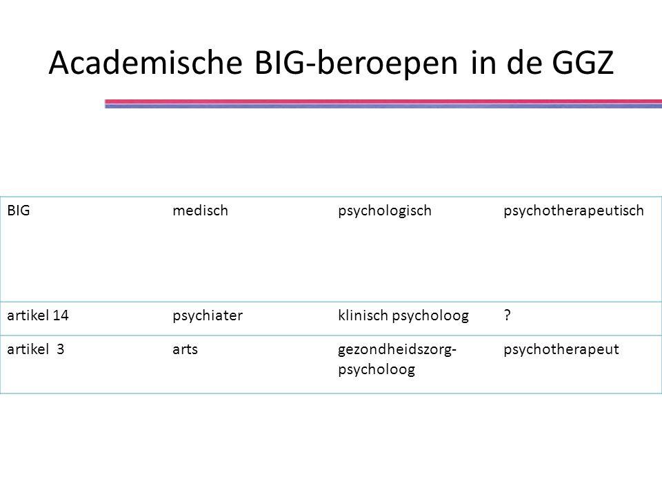 BIGmedischpsychologischpsychotherapeutisch artikel 14psychiaterklinisch psycholoog? artikel 3artsgezondheidszorg- psycholoog psychotherapeut Academisc