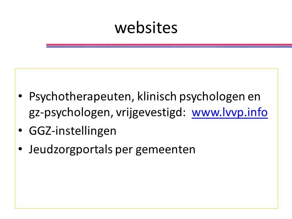 websites Psychotherapeuten, klinisch psychologen en gz-psychologen, vrijgevestigd: www.lvvp.infowww.lvvp.info GGZ-instellingen Jeudzorgportals per gemeenten