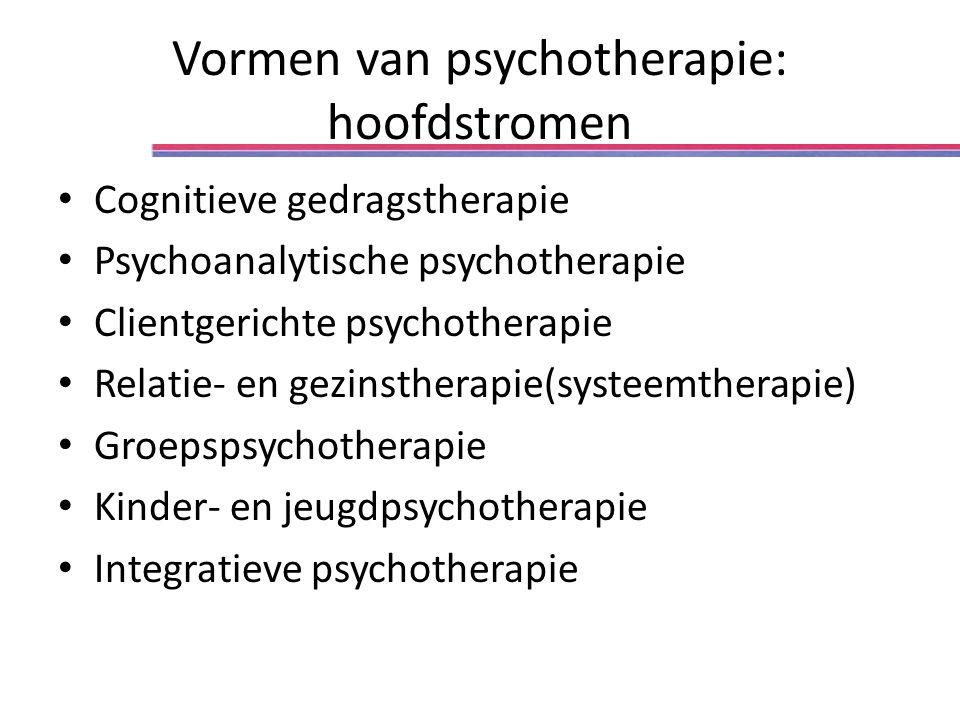 Vormen van psychotherapie: hoofdstromen Cognitieve gedragstherapie Psychoanalytische psychotherapie Clientgerichte psychotherapie Relatie- en gezinstherapie(systeemtherapie) Groepspsychotherapie Kinder- en jeugdpsychotherapie Integratieve psychotherapie