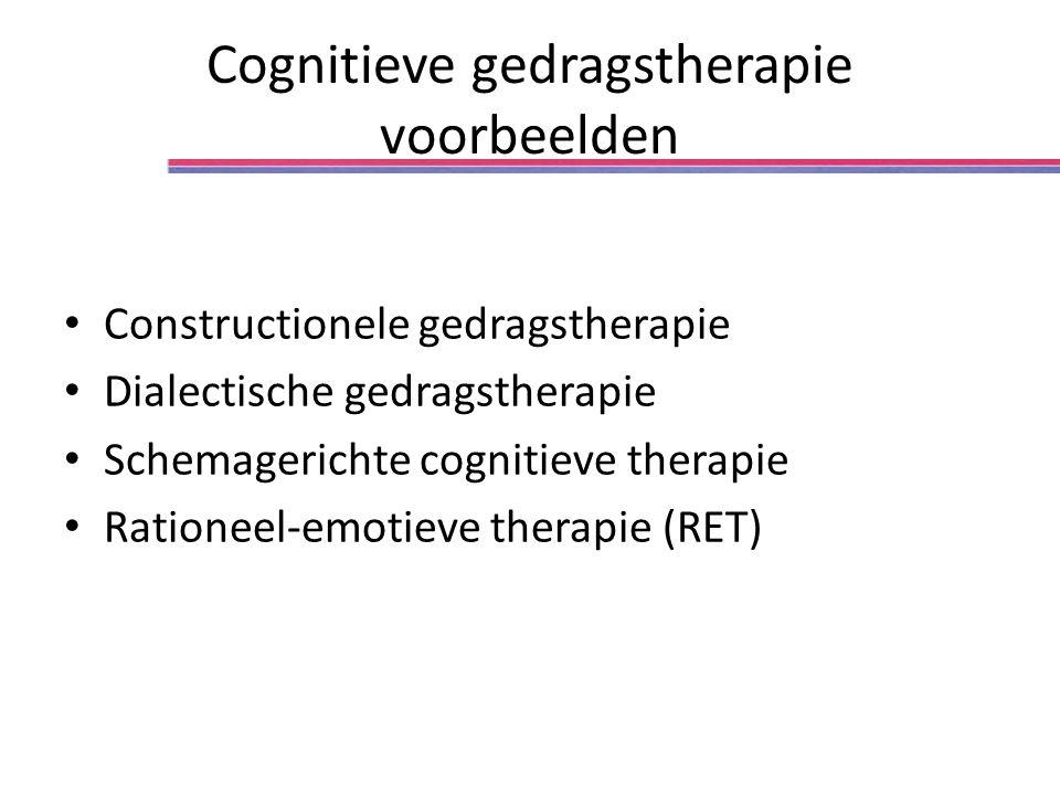 Cognitieve gedragstherapie voorbeelden Constructionele gedragstherapie Dialectische gedragstherapie Schemagerichte cognitieve therapie Rationeel-emotieve therapie (RET)