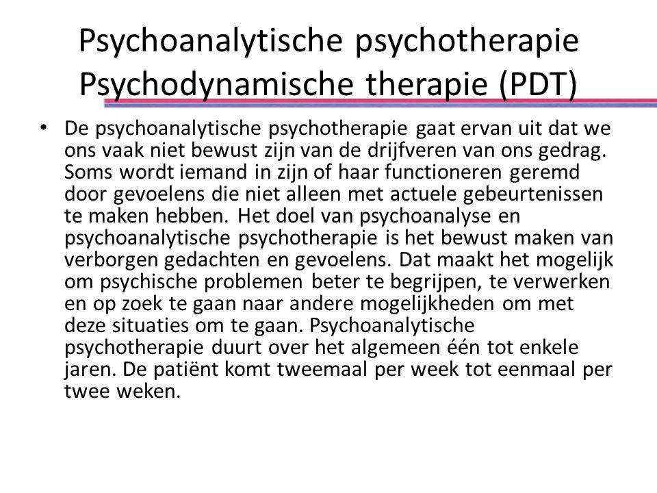 Psychoanalytische psychotherapie Psychodynamische therapie (PDT) De psychoanalytische psychotherapie gaat ervan uit dat we ons vaak niet bewust zijn van de drijfveren van ons gedrag.