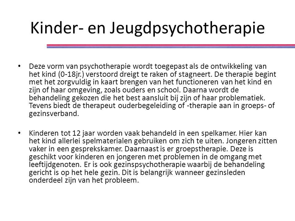 Kinder- en Jeugdpsychotherapie Deze vorm van psychotherapie wordt toegepast als de ontwikkeling van het kind (0-18jr.) verstoord dreigt te raken of stagneert.