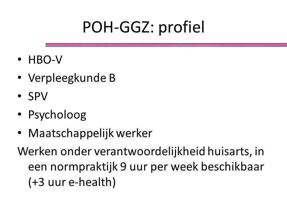 POH-GGZ: profiel HBO-V Verpleegkunde B SPV Psycholoog Maatschappelijk werker Werken onder verantwoordelijkheid huisarts, in een normpraktijk 9 uur per week beschikbaar (+3 uur e-health)