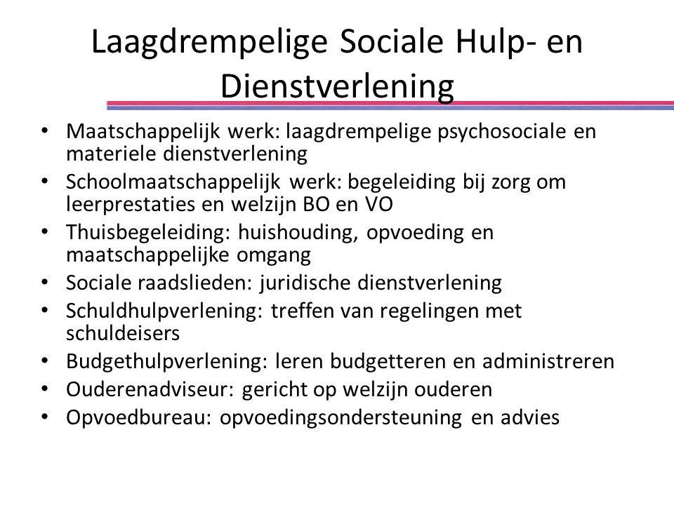Laagdrempelige Sociale Hulp- en Dienstverlening Maatschappelijk werk: laagdrempelige psychosociale en materiele dienstverlening Schoolmaatschappelijk