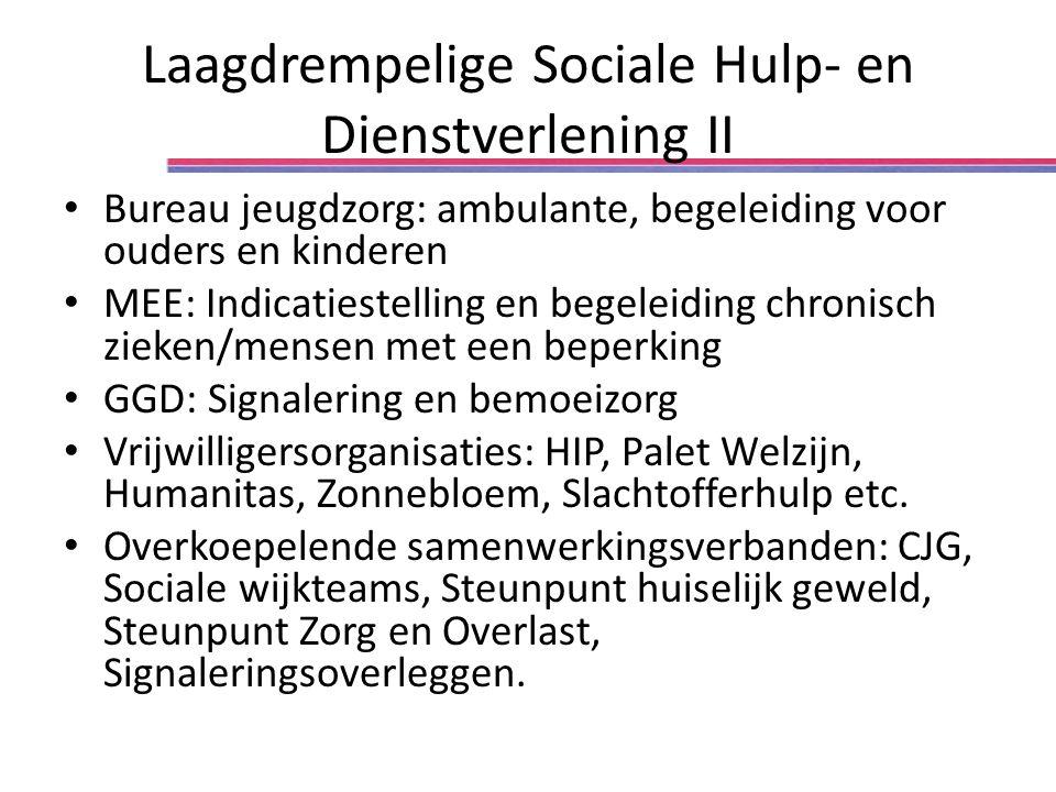 Laagdrempelige Sociale Hulp- en Dienstverlening II Bureau jeugdzorg: ambulante, begeleiding voor ouders en kinderen MEE: Indicatiestelling en begeleid