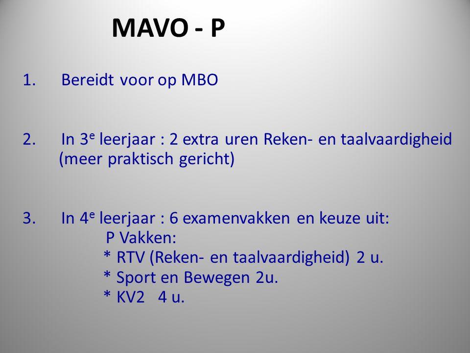 1. Bereidt voor op MBO 2. In 3 e leerjaar : 2 extra uren Reken- en taalvaardigheid (meer praktisch gericht) 3. In 4 e leerjaar : 6 examenvakken en keu