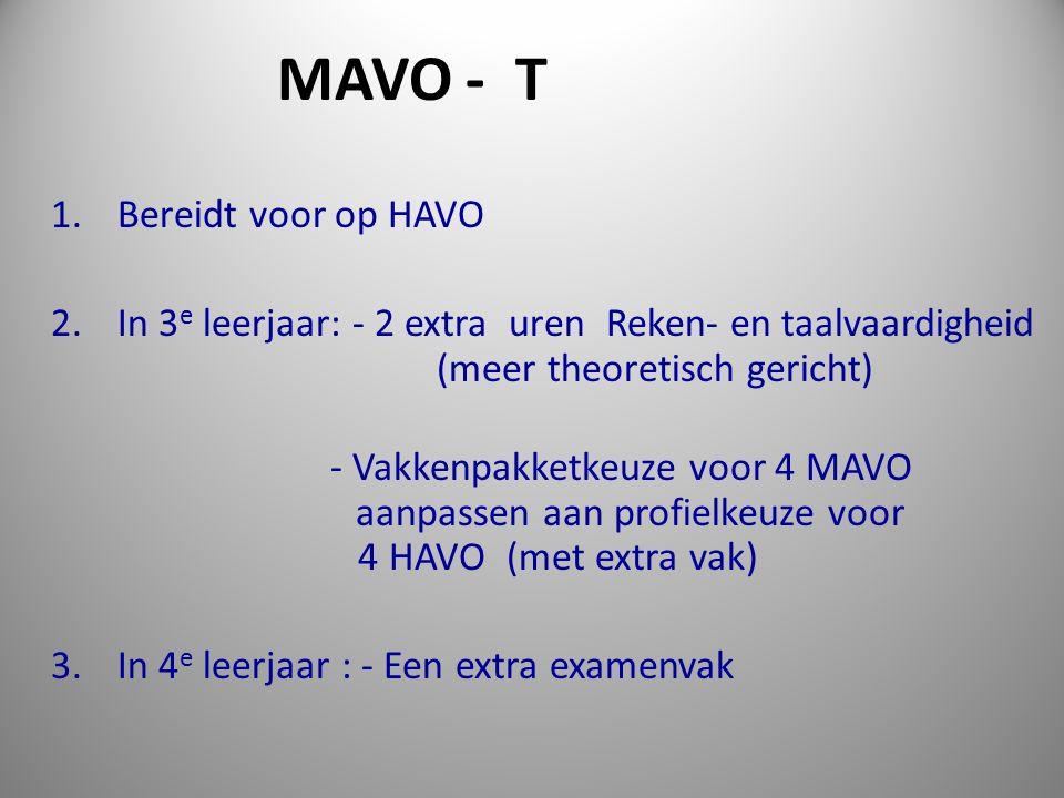 1. Bereidt voor op HAVO 2. In 3 e leerjaar: - 2 extra uren Reken- en taalvaardigheid (meer theoretisch gericht) - Vakkenpakketkeuze voor 4 MAVO aanpas