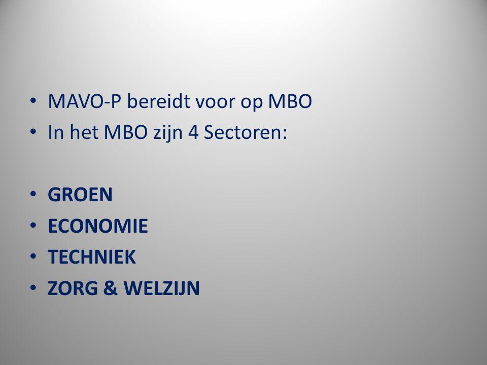 MAVO-P bereidt voor op MBO In het MBO zijn 4 Sectoren: GROEN ECONOMIE TECHNIEK ZORG & WELZIJN