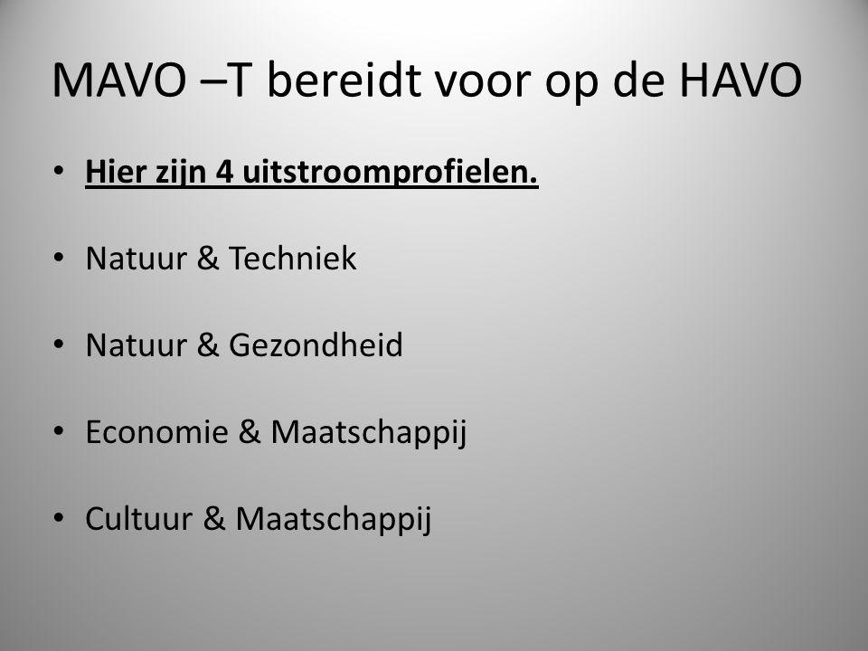 MAVO –T bereidt voor op de HAVO Hier zijn 4 uitstroomprofielen. Natuur & Techniek Natuur & Gezondheid Economie & Maatschappij Cultuur & Maatschappij
