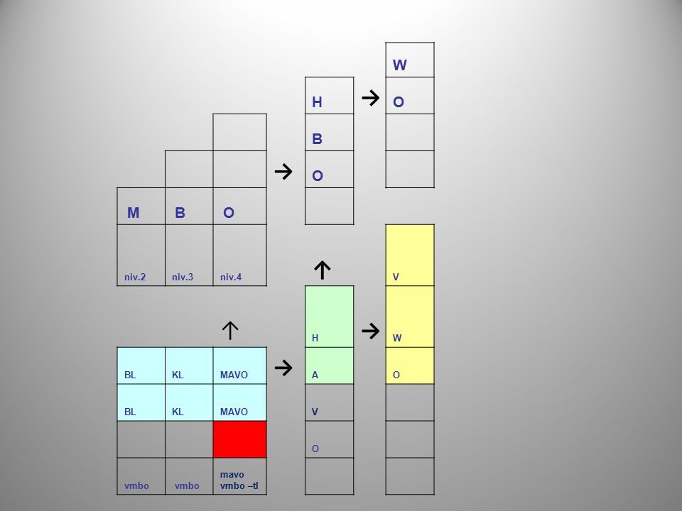 W H → O B → O M B O niv.2niv.3niv.4 ↑ V ↑ H → W BLKLMAVO → AO BLKLMAVOV O vmbo mavo vmbo –tl