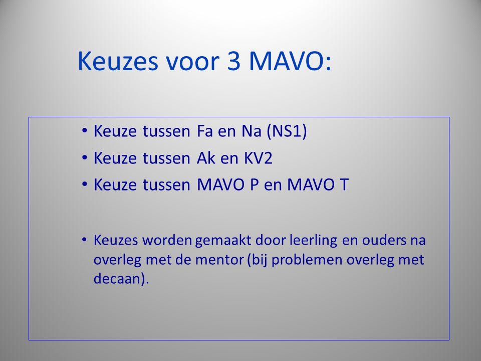 Keuzes voor 3 MAVO: Keuze tussen Fa en Na (NS1) Keuze tussen Ak en KV2 Keuze tussen MAVO P en MAVO T Keuzes worden gemaakt door leerling en ouders na overleg met de mentor (bij problemen overleg met decaan).