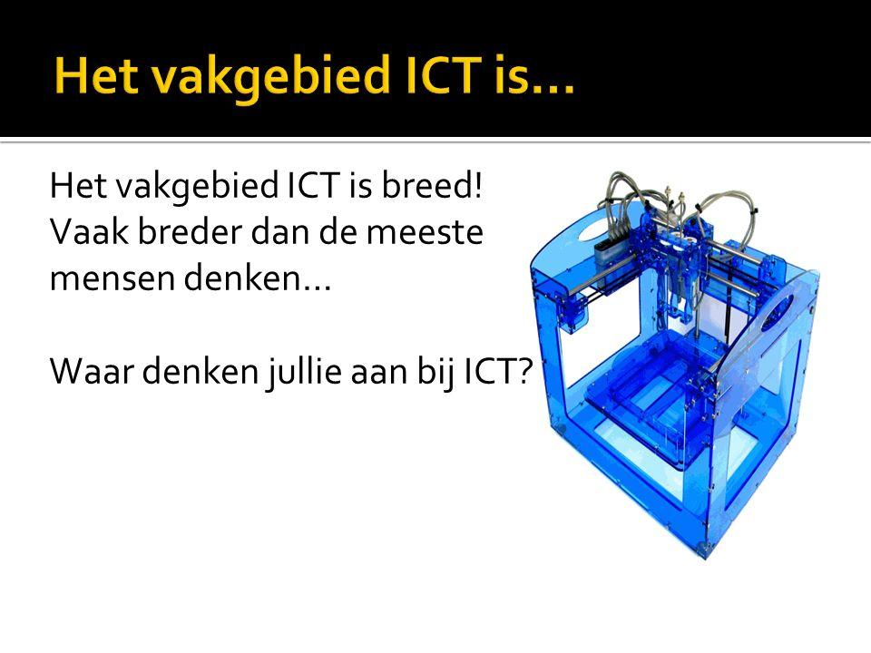 Het vakgebied ICT is breed! Vaak breder dan de meeste mensen denken… Waar denken jullie aan bij ICT?