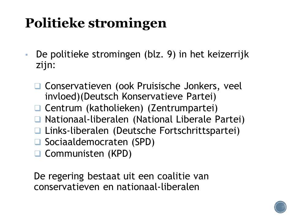 Politieke stromingen ▪ De politieke stromingen (blz. 9) in het keizerrijk zijn:  Conservatieven (ook Pruisische Jonkers, veel invloed)(Deutsch Konser
