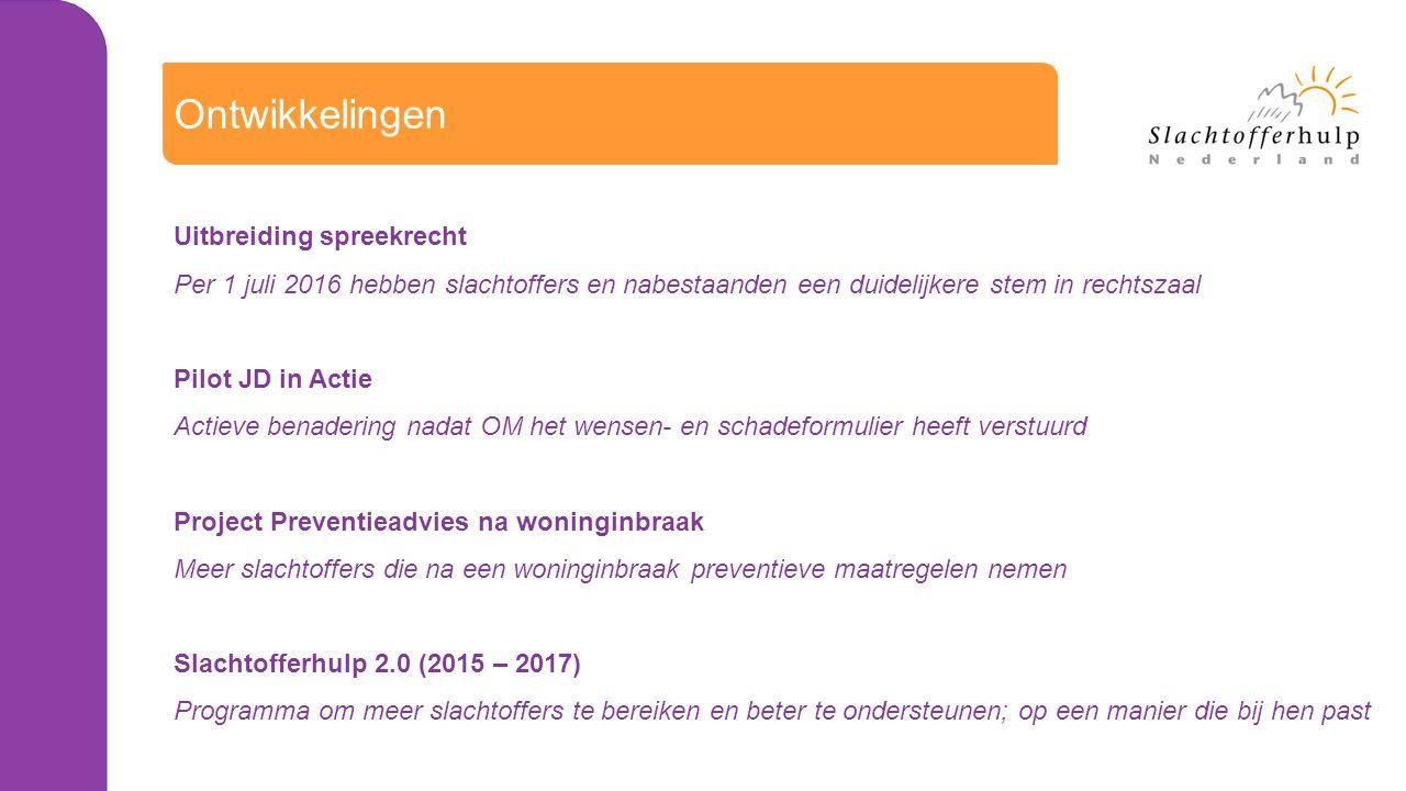 Ontwikkelingen Uitbreiding spreekrecht Per 1 juli 2016 hebben slachtoffers en nabestaanden een duidelijkere stem in rechtszaal Pilot JD in Actie Actieve benadering nadat OM het wensen- en schadeformulier heeft verstuurd Project Preventieadvies na woninginbraak Meer slachtoffers die na een woninginbraak preventieve maatregelen nemen Slachtofferhulp 2.0 (2015 – 2017) Programma om meer slachtoffers te bereiken en beter te ondersteunen; op een manier die bij hen past
